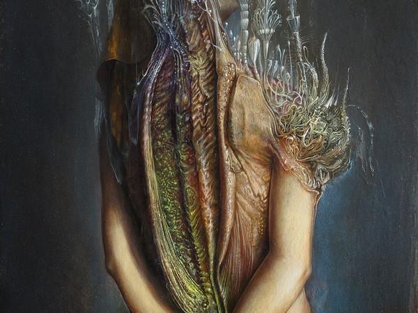 Agostino Arrivabene, Prefica mutante II°, 2014, olio su legno, cm 50x35