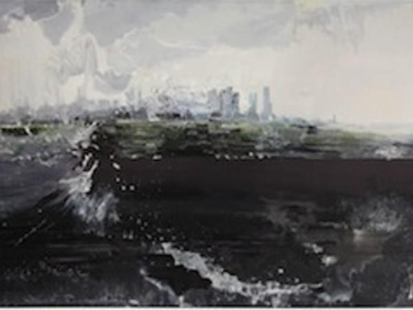 Tom McGrath, City in the Rain, olio su tela, 2004, cm 124,4x244