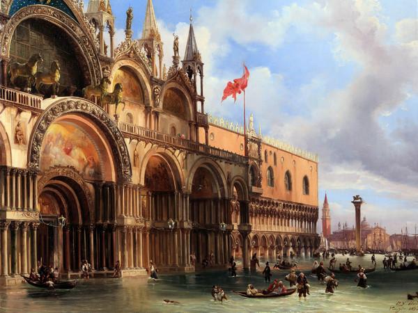 Federico Moja, Piazza San Marco con l'acqua alta, olio su tela, 70 x 89 cm. Milano, collezione privata