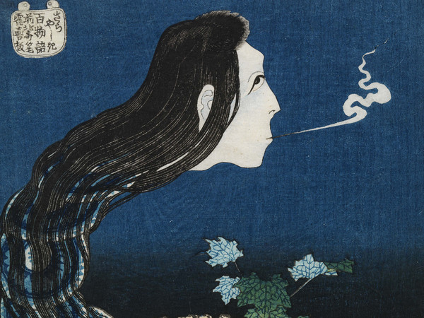 Katsushika Hokusai, Il Fantasma di Okiku al Plate Mansion, dalla serie Cento Storie di Fantasmi (葛飾北斎「百物語 さらやしき) | Courtesy of The Sumida Hokusai Museum, Tokyo