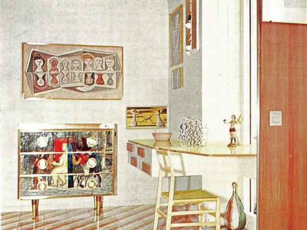 Gio Ponti, sistemazione del proprio appartamento nell'edificio di via Dezza 49, Domus 334, 1957, camera da letto della figlia