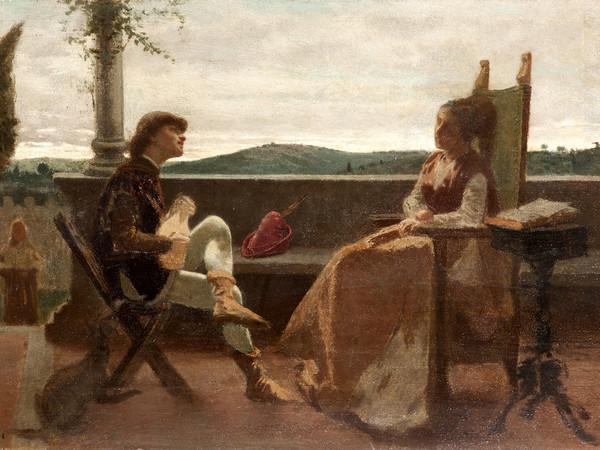 Cristiano Banti, Scena romantica, olio su tavola, 24,5x38 cm. Collezione privata