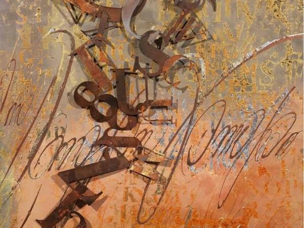 Enrico Benetta, Elisir d¹arancio, 2011, polimaterico su tela e acciaio corten, cm 100x100x10
