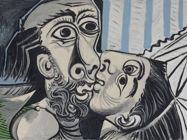 <span>Pablo Picasso, </span><em>Il bacio</em><span>, 1969 olio su tela, 130 x 97 cm, Parigi, Musée National Picasso. Foto: © RMN-Grand Palais (Musée national Picasso-Paris) /Jean-Gilles Berizzi/ dist. Alinari</span><br /><br />