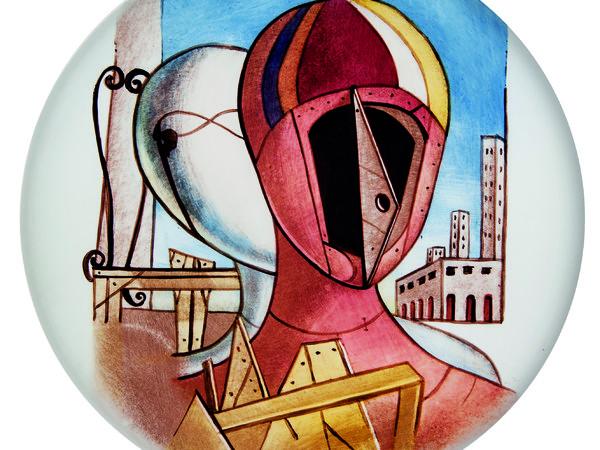 Laura Oliva, d'après Le Maschere, piatto in vetro placcato in ceramica bianca, dipinto a grisaglia, diametro cm. 30