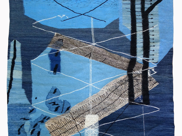 Here behind my eyes I am no longer afraid, 2019, woven by Kebira Agalou. Composition developed from graphic remnants found in the personal papers of Clive Entwistle