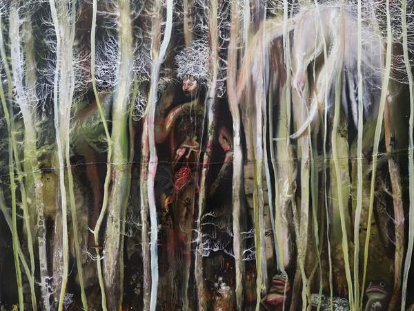 Chiara Calore, Dentro, 2021, olio su tela 200 x 180 cm.