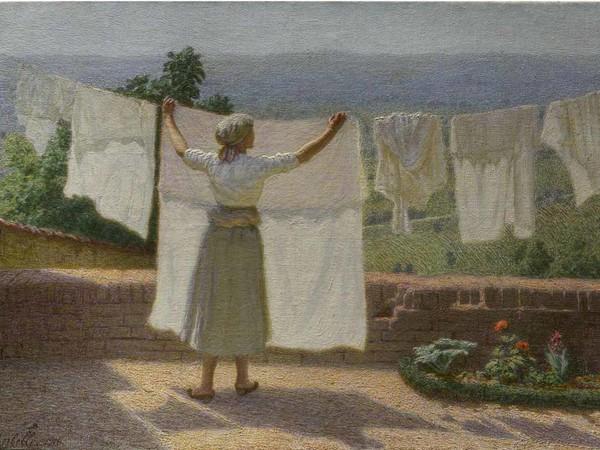 Angelo Morbelli, <em>Distendendo panni al sole</em>, 1916, Olio su tela, 62 x 43.5 cm