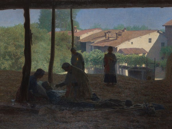 Giuseppe Pellizza da Volpedo, Sul fienile, olio su tela, 133x243,5 cm. Collezione privata