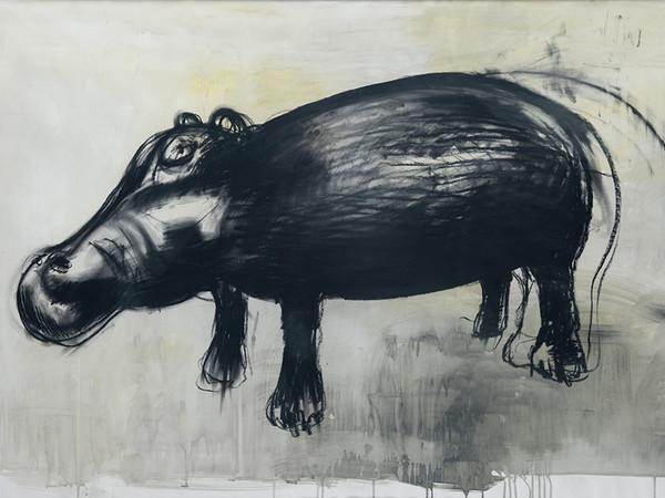 Alberto Zamboni, <em>Ippopotamo</em>, 150 x 100 cm, Carbone su carta