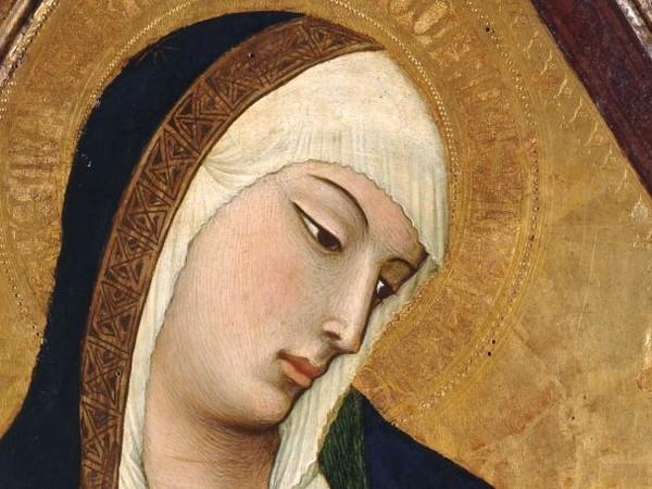 Ambrogio Lorenzetti, Madonna che allatta il Bambino, 1325 circa, Tempera e oro su tavola, 49.1 x 96 cm, Dalla chiesa dell'eremo di San Salvatore a Lecceto (Siena) Siena, Museo Diocesano