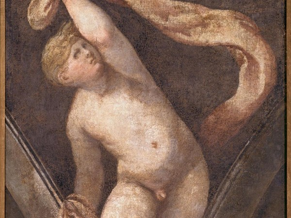 Giulio Campi, Putto decorativo, XVI sec., affresco strappato e riportato su tela. Museo Civico Ala Ponzone, Cremona