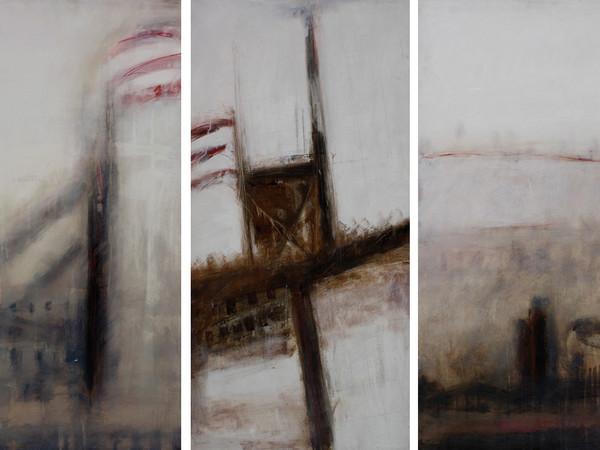 Irene Petrafesa, Ciminiere (Trittico), 2006, olio su tela, 100x50cm