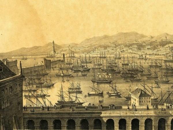Anonimo, Genova e il suo Porto dalle Terrazze di Marmo (Litografia, ante 1883)