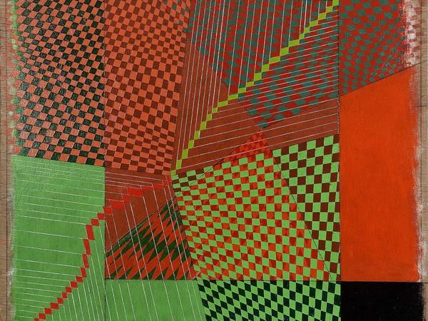 Oscar Piattella, I giardini del cosmo, 2017 acrilico su tavola, cm. 40,5 x 42,9