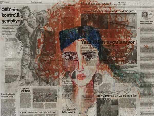Zehra Doğan, Özdinamik, Auto-dinamica, 2017, Carcere di Diyarbakir, penna a sfera, caffè, curcuma, succo di prezzemolo su giornale, 67 x 56 cm | Foto: Jef Rabillon
