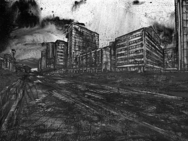 Christian Leperino, Cityscape8, 2010, acrilico su pvc, 157x240 cm.