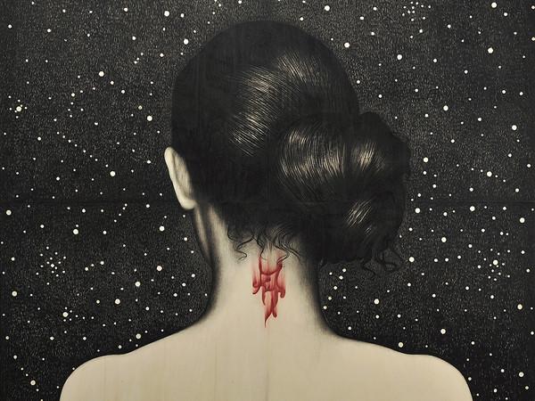 Omar Galliani, Berenice, 2014, matita nera e pastello su tavola, cm. 400x400
