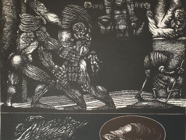 Luciano De Vita, Crocefissione, 1971, acquaforte, cm. 645x655 (ed. Il Torcoliere e l'Espresso)