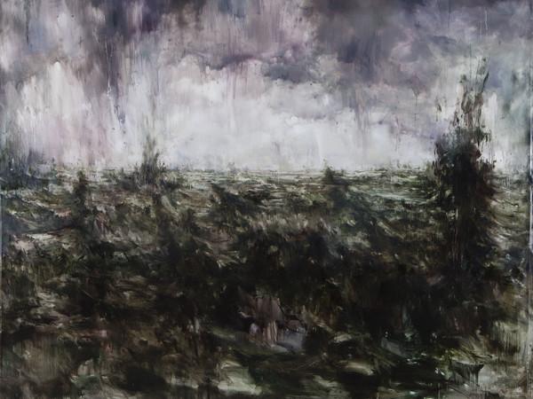 Alessandro Papetti, Il cielo che cade, 2017. Olio su tela, 205 x 247 cm