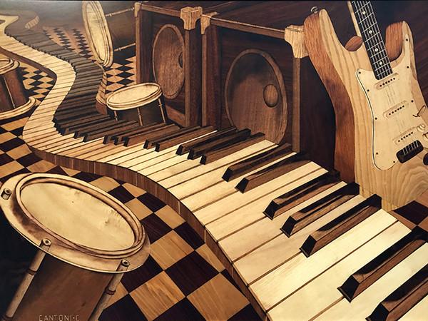 Musica, tarsia di Carletto Cantoni