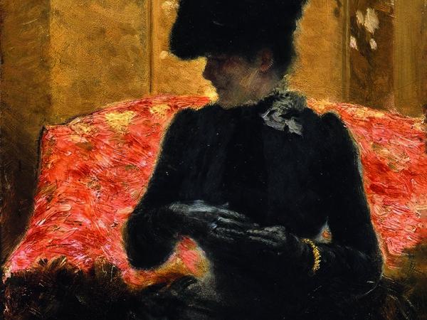 Giuseppe De Nittis, Signora sul divano rosso, 1876, Olio su tela, 27 x 41 cm, Collezione privata
