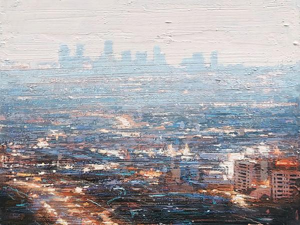 Claudio Cionini, Los Angeles, acrilico su tela, 50x50 cm.