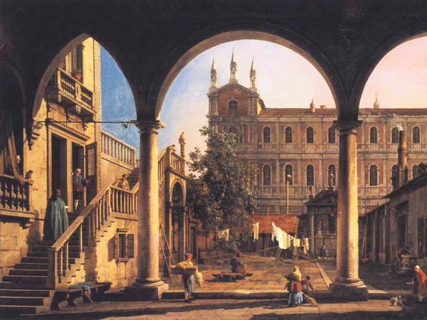 Canaletto, <em>Capriccio con la Scuola di San Marco vista dalla Loggia di Palazzo Grifalconi-Loredan</em>, Inizio 1750
