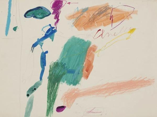 Giosetta Fioroni, Senza Titolo, tecnica mista su carta, cm. 38x52,5, 1960, provenienza galleria Il Segno, Roma. Opera ritrovata ed esposta per la prima volta dal 1961