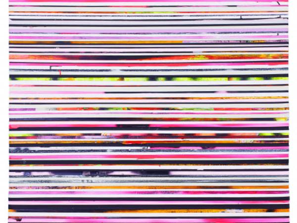 Paolo Bini, Eden, 2017. Acrilico su nastro carta su tela, cm. 120x120