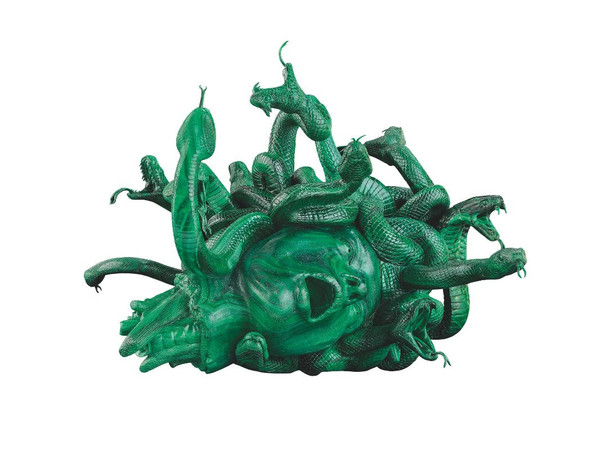 Damien Hirst, The Severed Head of Medusa, 2008. Malachite, 15 x 19.5 x 20.5 inches (380 x 496 x 520 mm). Edition of 3 with 2 artist's proofs. Private Collector. Photographed by Prudence Cuming Associates Ltd