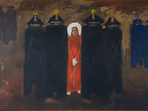Aldo Carpi, L'arresto di Gesù, 1951, tecnica mista su tela, cm. 121x60. Milano, GASC
