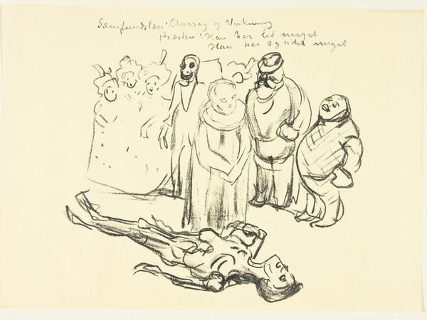 Edvard Munch Samfundslære. Årsak og virkning / Social Studies, Cause and Effect, 1910,  Litograph