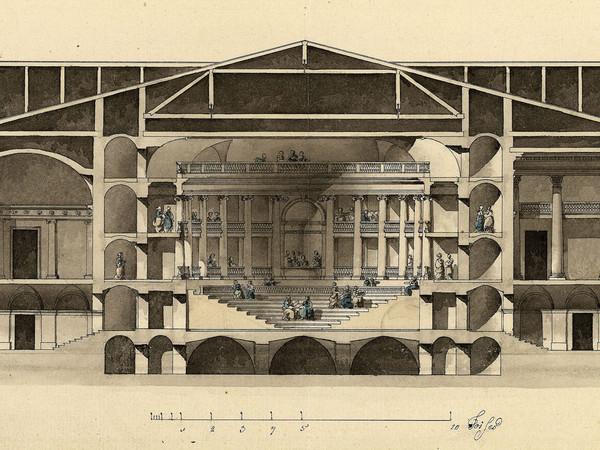 Giacomo Quarenghi, Progetto per un teatro all'antica, sezione. Accademia Carrara, Bergamo