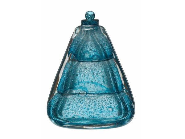 Maurice Marinot, Flacone triangolare blu con bolle e collo quadrato, 1925, Parigi, MAD