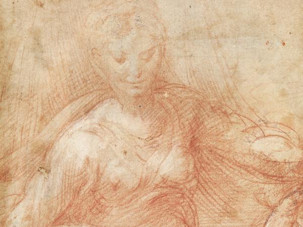 Girolamo Francesco Maria Mazzola, detto Parmigianino (Parma, 1503 - Casalmaggiore, 1540), Madonna col Bambino, 1529 circa, Pietra rossa con tracce di biacca su carta gialletta, Gabinetto dei Disegni e delle Stampe, Gallerie degli Uffizi, Firenze