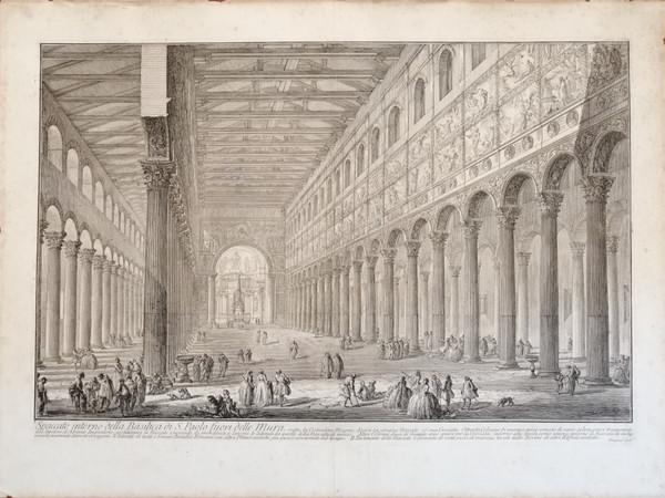 Giovan Battista Piranesi, Spaccato interno della Basilica di S. Paolo fuori delle Mura, 1749. Proprietà Galleria Frati, Roma