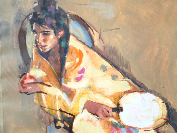 Geoffrey Humphries, Eleonora in Kimono with Fan, Olio su tela (Particolare), 55 x 70 cm | Courtesy of the Artist and The Osborne Studio Gallery, London