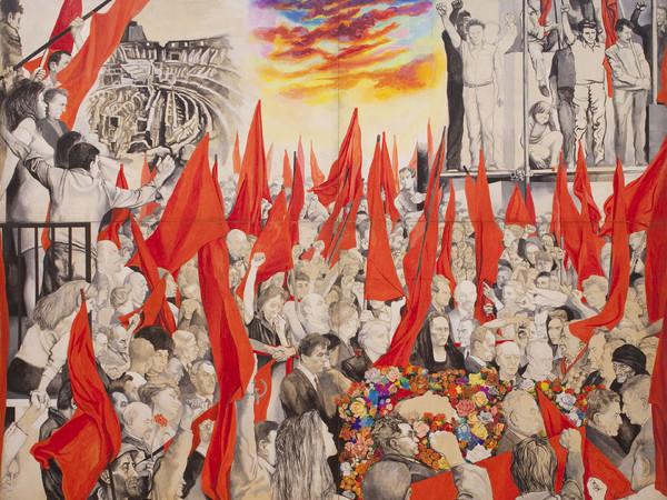 Renato Guttuso, Funerali di Togliatti, 1972. Tecnica mista su tavola, 340 440 cm. MAMbo - Museo d'Arte Moderna di Bologna (deposito permanente dell'Associazione Enrico Berlinguer)