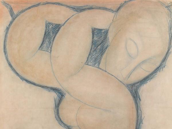 Amedeo Modigliani (Livorno,1884 - Paris, 1920), Cariatide (bleue),1913 circa, Matita blu su carta, 45 x 56.5cm, Collezione Jonas Netter