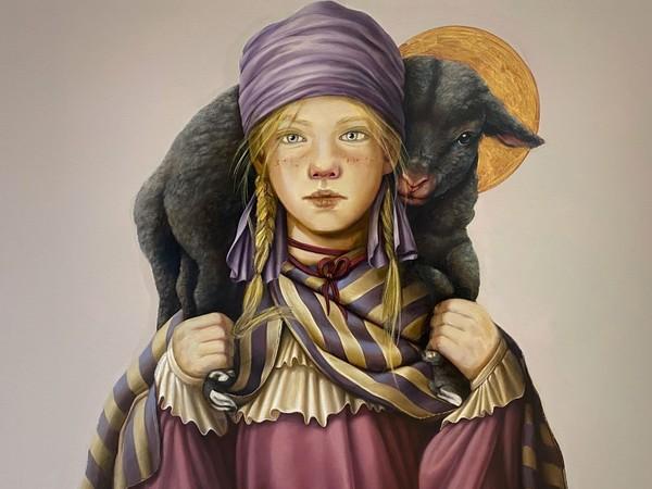 Claudia Giraudo, Bimba con pecora nera, 2020, olio su tela, 60 x 70 cm