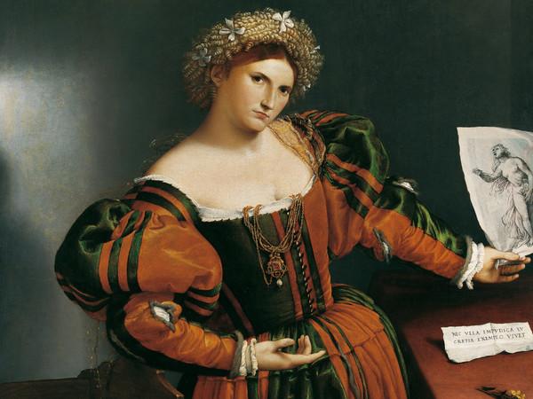 Lorenzo Lotto (Venezia, 1480 circa - Loreto, 1556-1557), Ritratto di donna con un disegno di Lucrezia, 1530-1533 circa, Olio su tela, 110.5 x 95.9 cm,The National Gallery, Londra