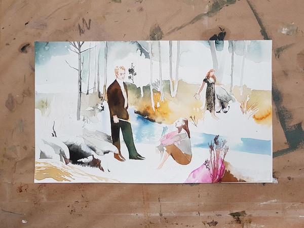 Greta Ferretti, bozzetto per opera, 2021, aquarello su carta