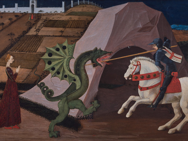 Paolo di Dono, detto Paolo Uccello, <em>San Giorgio e il drago</em>, 1430-35, tavola in legno dipinta, 131 x 103 cm, Parigi, Musée Jacquemart-André | Courtesy Fondazione Giorgio Cini Onlus