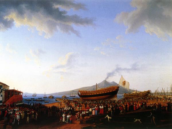 Il cantiere di Castellammare nel momento che si vara il vascello Partenope