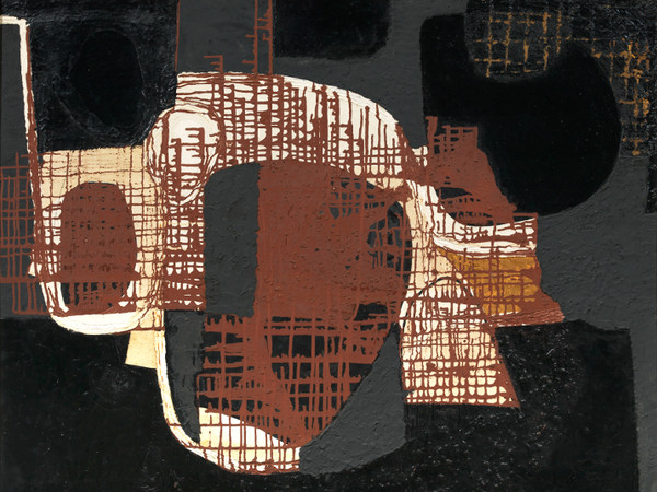 Alberto Burri, Catrame, 1950, olio, catrame e sabbia su tela, 110 x 92, collezione privata, Firenze| Courtesy of Tornabuoni Arte<br />