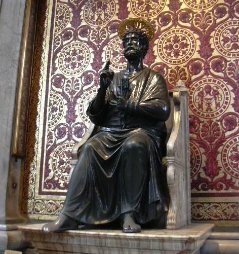 Statua di San Pietro benedicente, nella Basilica di San Pietro dans immagini sacre 604-arnolfo