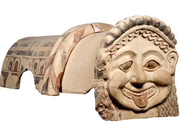 Gorgon Antefix, Terracotta roof ornament with head of a gorgon, Gela, Sicily, c. 500 BC | Courtesy of Museo Archeologico Regionale Di Agrigento © Regione Siciliana