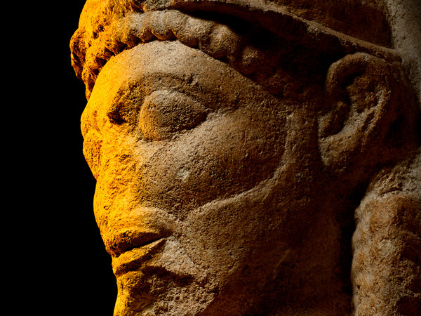 Sicily Palermo Bust Small, Limestone head from a temple, Selinous, Sicily, c. 540-510 BC | Courtesy of Museo Archeologico Regionale A Salinas, Palermo © Regione Siciliana